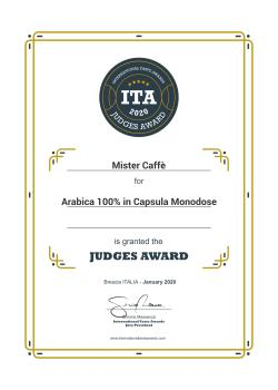 2020: International Taste Awards – Premio Giuria Arabica 100% in Capsula Monodose